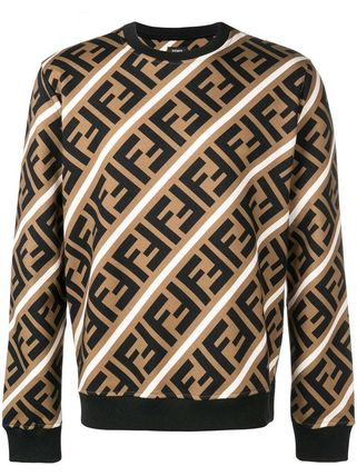 FENDI Sweatshirts Crew Neck Pullovers Monogram Sweat Street Style Sweatshirts 3
