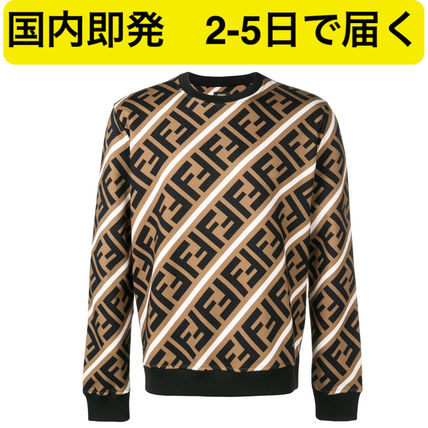 FENDI Sweatshirts Crew Neck Pullovers Monogram Sweat Street Style Sweatshirts