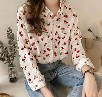 Casual Style Long Sleeves Cotton Long Shirts & Blouses