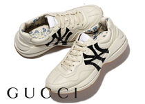 GUCCI Flower Patterns Leather Sneakers