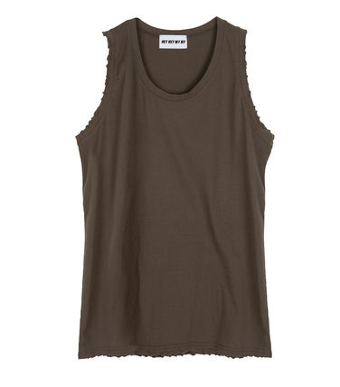 Tanks Unisex Street Style Plain Cotton Oversized Tanks 4
