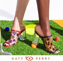 Katy Perry Flower Patterns Open Toe Casual Style Blended Fabrics
