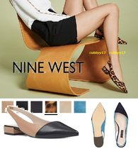 Nine West Plain Leather Office Style Chunky Heels