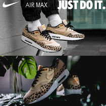 Nike AIR MAX 1 Leopard Patterns Platform Round Toe Casual Style Unisex