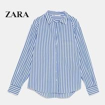 ZARA Stripes Casual Style Long Sleeves Cotton Long Oversized