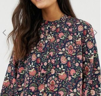 Short Flower Patterns Collaboration Long Sleeves High-Neck