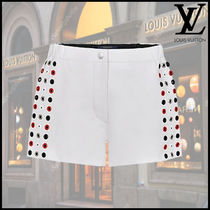 Louis Vuitton Leather Elegant Style Leather & Faux Leather Shorts