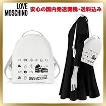Love Moschino Heart Casual Style Faux Fur 2WAY Plain Backpacks