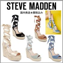 Steve Madden Open Toe Lace-up Casual Style Suede Plain