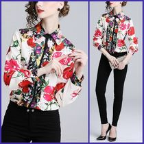 Flower Patterns Chiffon Long Sleeves Medium Elegant Style