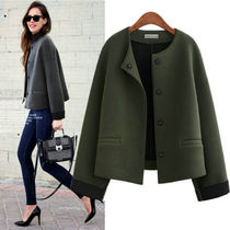 Short Monogram Casual Style Wool Street Style Plain Jackets