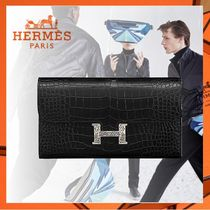 HERMES CONSTANCE Crocodile Plain Other Animal Patterns Long Wallets