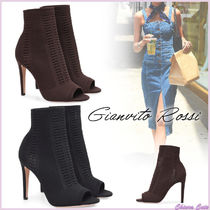 Gianvito Rossi Open Toe Plain Pin Heels Elegant Style Ankle & Booties Boots