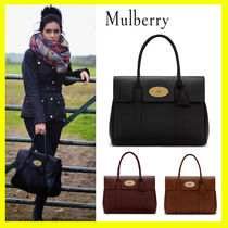 Mulberry Bayswater A4 Plain Leather Elegant Style Totes
