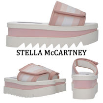 Stella McCartney ELYSE Stripes Platform Round Toe Casual Style Bi-color