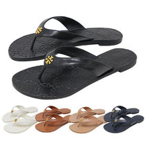 Tory Burch Plain Leather Flip Flops Flat Sandals