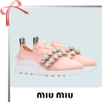 MiuMiu Casual Style Plain With Jewels Low-Top Sneakers