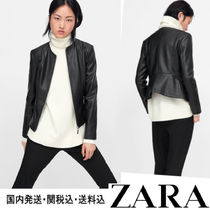 ZARA Short Faux Fur Plain Biker Jackets