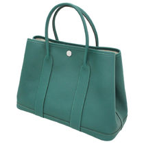 HERMES Garden Party A4 Plain Leather Elegant Style Totes