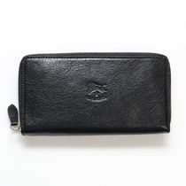 IL BISONTE Unisex Plain Leather Handmade Folding Wallet Logo