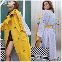 Stripes Casual Style Blended Fabrics Street Style Plain Long