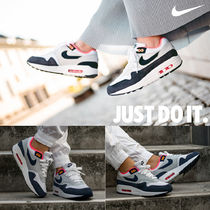 Nike AIR MAX 1 Platform Round Toe Casual Style Unisex Street Style Plain