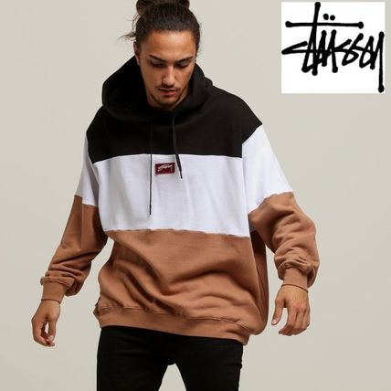 STUSSY Hoodies Pullovers Street Style Long Sleeves Plain Cotton Oversized