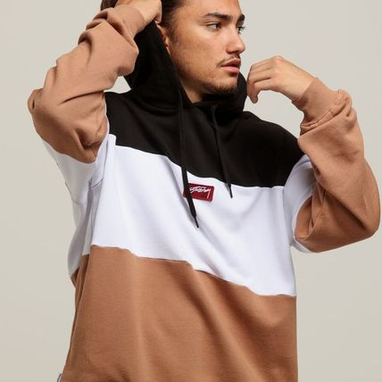 STUSSY Hoodies Pullovers Street Style Long Sleeves Plain Cotton Oversized 4