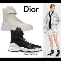 Christian Dior Rubber Sole Lace-up Casual Style Blended Fabrics Plain