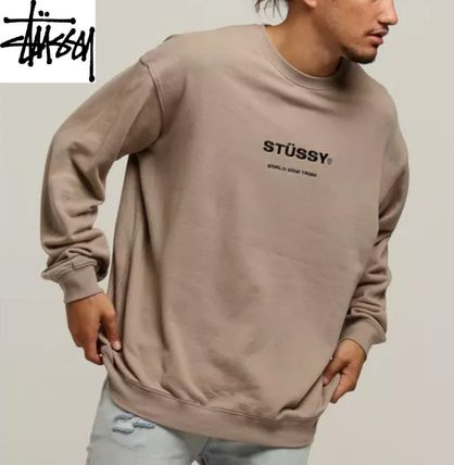 Crew Neck Pullovers Long Sleeves Plain Cotton Sweatshirts