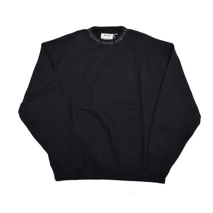 Acne Sweatshirts Crew Neck Street Style Plain Cotton Sweatshirts
