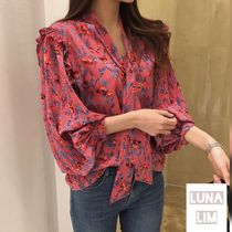 Flower Patterns Casual Style Medium Puff Sleeves