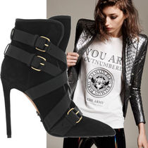 BALMAIN Casual Style Suede Plain Pin Heels Ankle & Booties Boots
