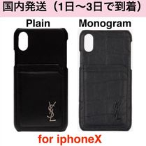 Saint Laurent Street Style Plain Leather Smart Phone Cases
