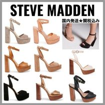 Steve Madden Open Toe Casual Style Plain Leather Chunky Heels
