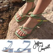 Jeffrey Campbell Square Toe Lace-up Casual Style Suede Plain Chunky Heels
