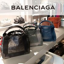 BALENCIAGA CABAS Plain Leather Shoulder Bags