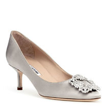 Manolo Blahnik Hangisi Plain Pin Heels Party Style With Jewels