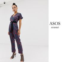 ASOS Dungarees Flower Patterns Street Style Short Sleeves