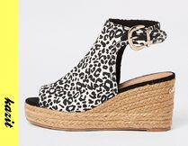 River Island Leopard Patterns Casual Style Platform & Wedge Sandals