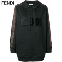 FENDI Long Sleeves Plain Cotton Logos on the Sleeves