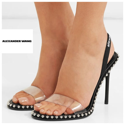 Open Toe Studded Plain Leather Pin Heels Elegant Style