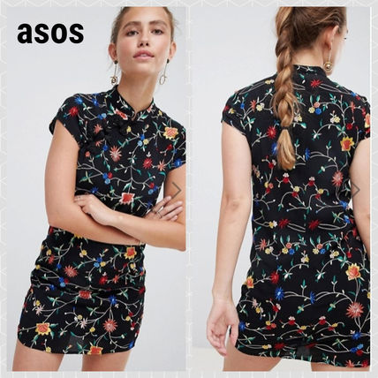 Short Flower Patterns Tight Short Sleeves Dresses