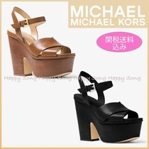 Michael Kors Open Toe Plain Chunky Heels Heeled Sandals