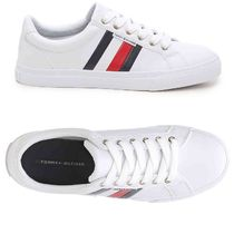 Tommy Hilfiger Stripes Round Toe Rubber Sole Casual Style Street Style