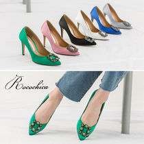 Bi-color Plain Pin Heels With Jewels Elegant Style
