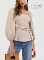 ASOS Casual Style Peplum Plain Puff Sleeves Tops
