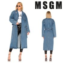 MSGM Casual Style Denim Long Trench Coats