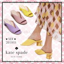 kate spade new york Open Toe Suede Plain With Jewels Chunky Heels Sandals