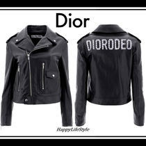 Christian Dior Short Studded Plain Leather Biker Jackets